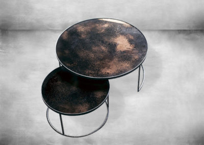 SP-TGN-020700 Bronze - Heavy Aged Mirror - Round Nesting Coffee Table Set