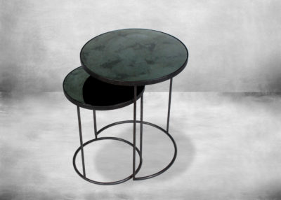 SP-TGN-020703 Charcoal - Heavy Aged Mirror - Round Nesting Side Table Set